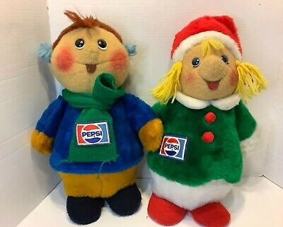 Vintage Animal Fair 1970s Pepsi Christmas Caroler Boy Girl Plush Doll Decoration