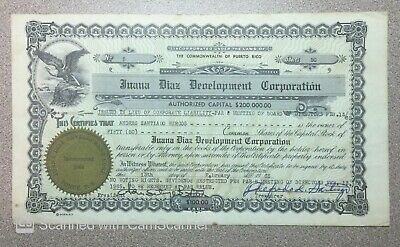 1965 Juana Diaz Development Corporation Stock Document Puerto Rico