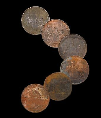 SHIPWRECK! Admiral Gardner - 1809. East India Company, 10 Cash, 1808 Lot of 6
