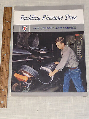 "Vtg 1960 ""Building Firestone Tires For Quality & Service"" Book ~ History Photos"
