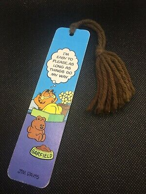 "Vintage Garfield 1978 Bookmark ""I'm easy to please..."" Very good condition!!!"