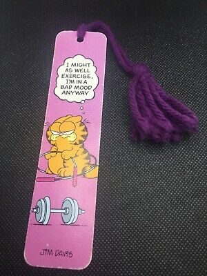 "Vintage Garfield 1978 Bookmark ""I might as well exercise.."" Very Good Condition!"