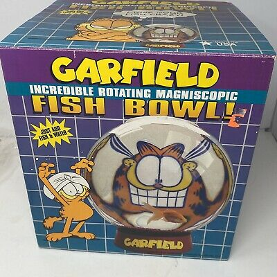 Vintage GARFIELD 1990s Plastic Fish Bowl In Box