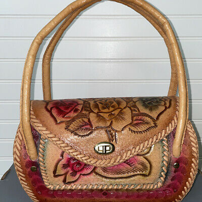 Hand Crafted Mexican Purse Artist One Of A Kind Floral Leather Rainbow