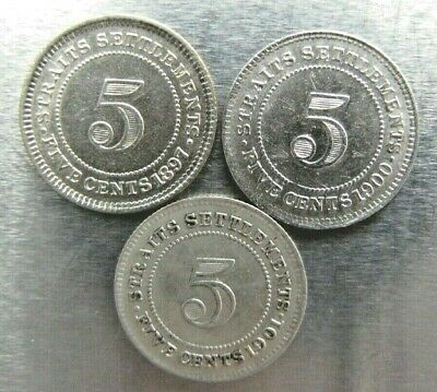 Straits Settlements 5 Cents 1897-H, 1900, 1901 nice trio.