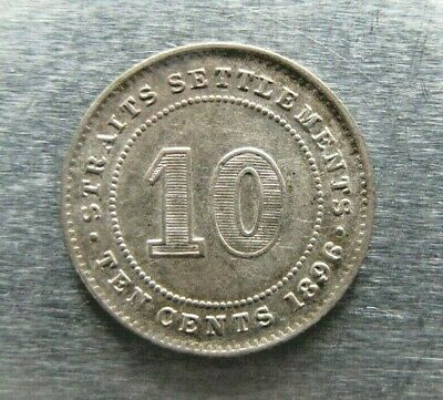 Straits Settlements KM11 10 Cents 1896 lightly toned nearly UNC.