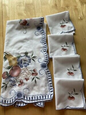 Pretty Fruit And Flower White Multicoloured Embroidered Tablecloth & 4 Napkins