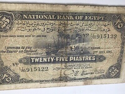 """EGYPT 1941 SCARCE 25 PT circulated banknote """"NIXON"""" """"CAMELS"""" I COMBINE SHIP"""