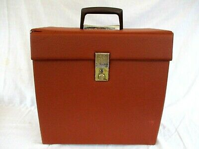 DARK ORANGE VINYL STORAGE BOX FOR 12 INCH RECORDS,VINTAGE 1960s V GOOD CONDITION