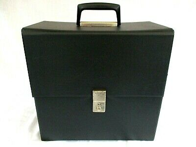BLACK VINYL STORAGE BOX FOR 12 INCH RECORDS,VINTAGE 1960s V GOOD CONDITION