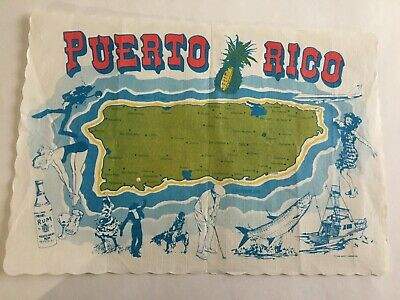 Vintage Paper Placemat 1986 Puerto Rico Map by Scott Paper Co. Collectible 13X8""