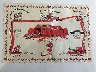 Vintage Paper Placemat Country Red Barn Riddle Collectible 13X9""