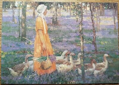 William Leech (The Goose Girl) Postcard - Medici Society P.C. 1919