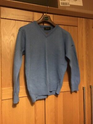100% Wool Blue PRINGLE Jumper - Made In Scotland - Size S-M