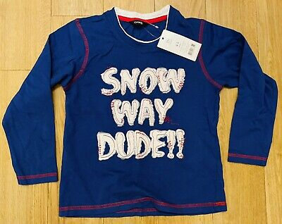 Boys 4-5 Years Snow Way Dude! Dark Blue Tshirt Top White Red Children Kids Girls