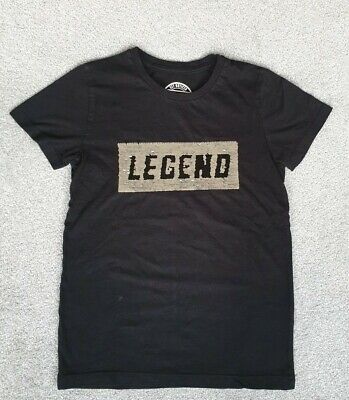 Matalan Black Boys T-Shirt Silver Sequin Legend  Age 9