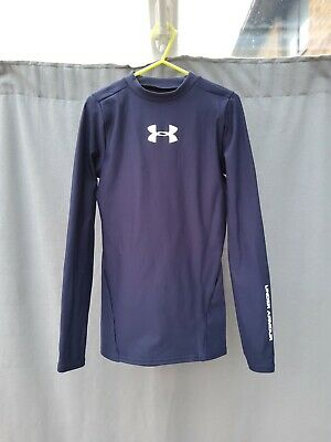 Under Armour Navy Blue Boys' ColdGear® Armour Mock Long Sleeved Top M 10-12 Yrs