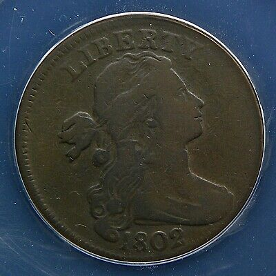 1802 Draped Bust Large Cent, ANACS F12 Details, Scratched