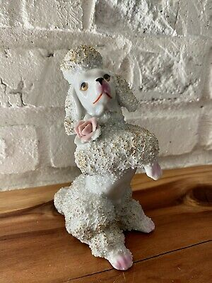"""Vintage 6"""" Spaghetti Texture Poodle Porcelain Life Like Eyes Gold Accents"""