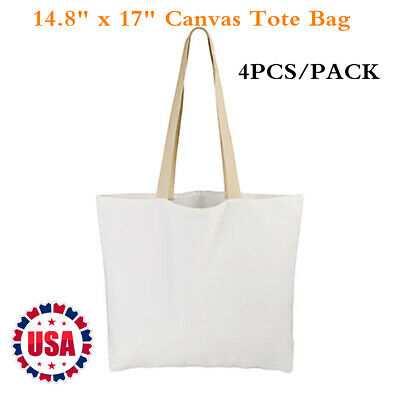 """4PCS / PACK 14.8"""" x 17"""" Sublimation Blank White Canvas Tote Bag Shopping Bags"""