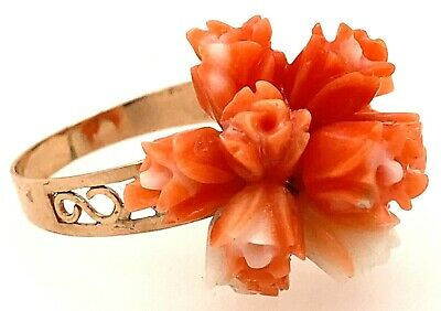 OOAK 12K Rose Gold Natural Carved Salmon White Coral Bunch of Roses Ring Size 7