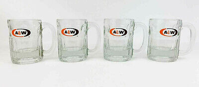 "Vintage A & W Root Beer Heavy Glass Mugs 4.5"" Tall Oval Logo Set Of 4"