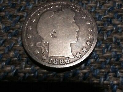1896-S Silver Barber Quarter In Good! Key Date! Great Detail For The Grade!