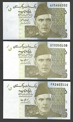 Pakistan 5 Rupee - 2008 2008 2010 - UNC - Lot of 3 Different Sign & Years