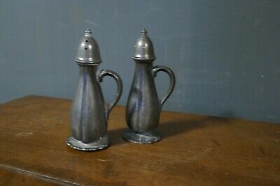 Pair of Peerless Pewter Salt & Pepper SP Co 908 Shakers, Pepper Pot