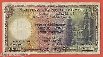 Egypt ,  10 Pounds Signed By A. Z. Saad 1951  - Non - , Rare Date