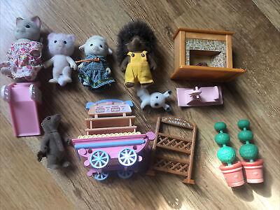 SYLVANIAN FAMILIES figures/ furniture slide rocking horse . Used condition