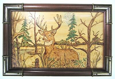 Wood Picture Deer Stag Buck Nature Woods Folk Art Rustic Country