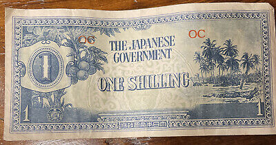 """The Japanese Government WW 2 Era Paper One Shilling Bill """"OC"""" Banknote"""
