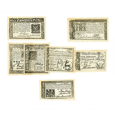 Set of 7 diff. US Colonial & Revolutionary 1773-1778 Set A uniface reproductions