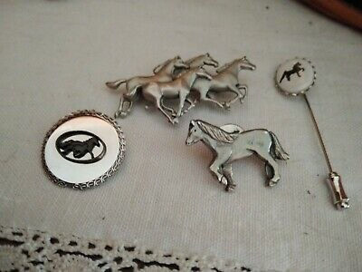 4 Horse-themed Pins - Pewter and Silver