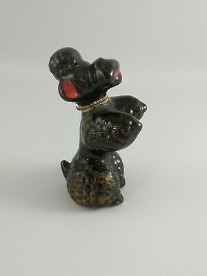 Vintage Red Clay Pottery POODLE Dog Figurine Redware