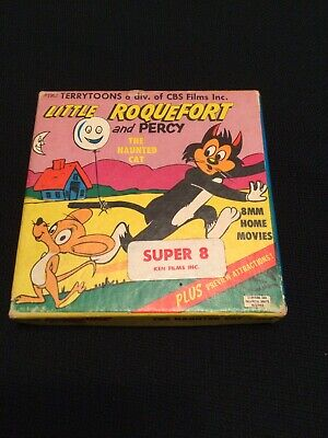 VTG 8mm Film CBS Films Terry Toons Little Roquefort and Percy The Haunted Cat