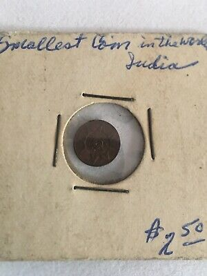 1901 to 1910 India Princely State Travancore 1 Cash Smallest Coin in the World