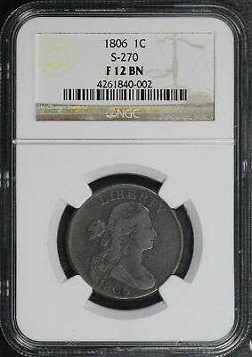 1806 Draped Bust Large Cent S-270 NGC F-12 BN
