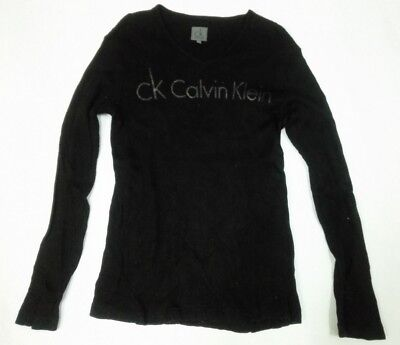 CALVIN KLEIN CK T SHIRT Spell Out Long-sleeve Stretchable Tee Girl Unisex