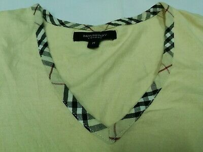 BURBERRY LONDON T Shirt Women M V neck Monogram Nova Check