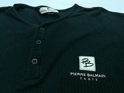 Pierre Balmain Paris T Shirt V Neck Half Button Up Embroidery Logo Made in Japan