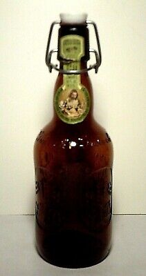 Vintage Grolsch Amber Embossed Beer Bottle Porcelain Swing Cap Georgia Bulldog