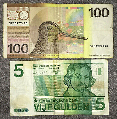 The Netherlands / Dutch: 100 Gulden 1977 & 5 Gulden 1973 in aFine condition. NLG