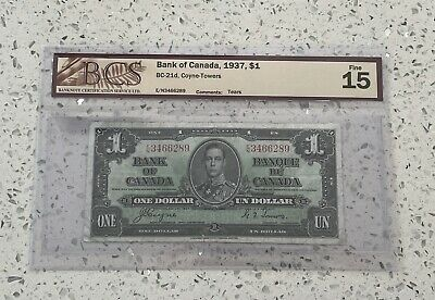 1937 $1 one dollar Bank of Canada, BCS Certified, Coyne-Towers