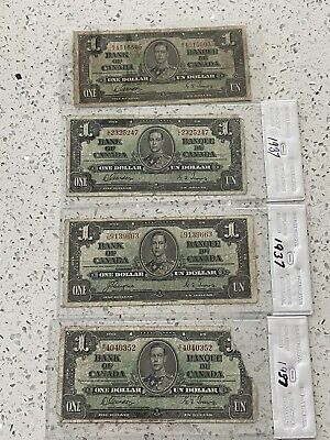 1937 $1 One Dollar Bank Of Canada Notes (4 Notes)