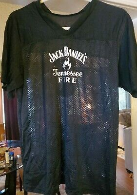 Jack Daniels TENNESSEE FIRE Old No 7 Brand Mesh Jersey Black Mens SMALL!