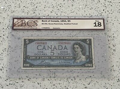 1954 $5 Dollar Bank Of Canada, BCS Certified