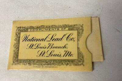 ANTIQUE National Lead Co. CELLULOID ADVERTISING POSTAGE STAMP HOLDER