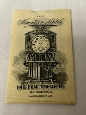 Antique Railroad Hamilton Watch Celluloid Advertising Postage Stamp Holder
